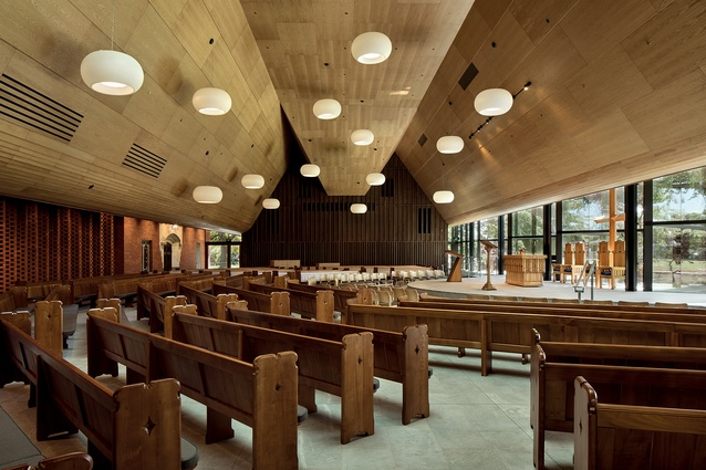 The overall organisation of pews and seats is arranged as a collection of seating groups, placing an intermediate scale between the individual and the group.