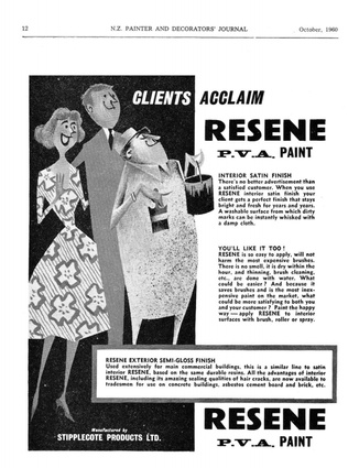 A 1960 Resene advert from NZ Painter and Decorator's Journal.