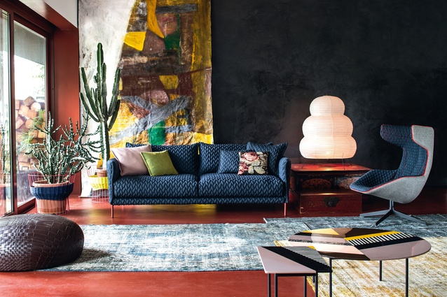 Gentry sofa by Patricia Urquiola; Akari table lamp by Isamu Noguchi (circa 1951); Take Two Line armchair by Alfredo Häberli.