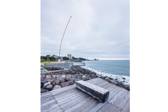 Len Lye's <em>Wind Wand</em> is a focal point of the Coastal Walkway.