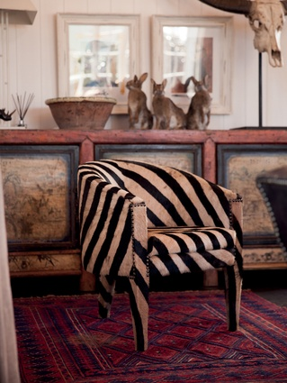 "Zebra chair: ""It also features throughout the hotel as a result of the same Moroccan trip. We enjoy its uniqueness and it is a memory of our travels together,"" says Kate."