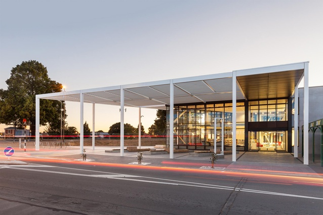 Public Architecture Award: Ruataniwha Civic Centre Kaiapoi by Warren and Mahoney. Williams St entrance.