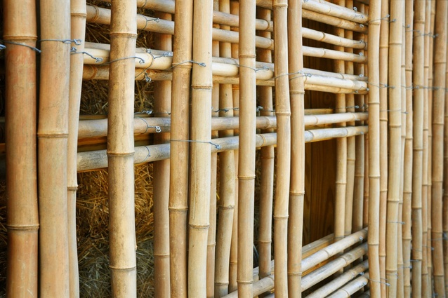 Mason Lane Farm: this large covered shed, used to store both hay and equipment, is clad in a lattice grid of locally-harvested bamboo, sourced only 56 kms from the project site.