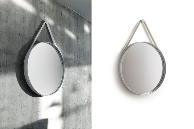 The mirror is made of grey steel with a silicon rubber strap.
