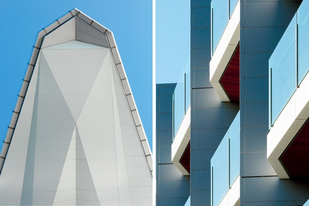 The faceted prow and a view of the enclosed balconies, made to shelter occupants from the prevailing winds.
