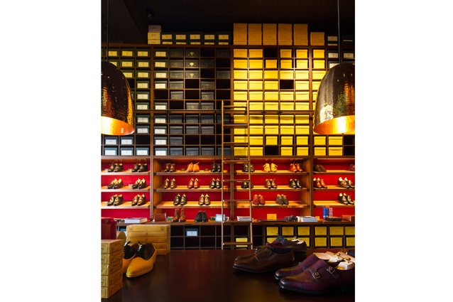 The Double Monk shoe store has the look and feel of an old library.