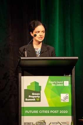 Davina Rooney, general manager of sustainability at Stockland Corporation, talks during the morning panel session.