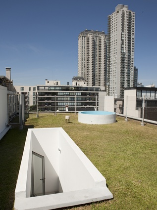 The grass-covered rooftop includes a small swimming pool.