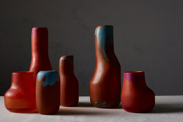 The Atelier range includes irregularly-shaped vases in bold, bright colours.