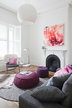 "<a href=""http://urbismagazine.com/articles/victorian-redux/"" target=""_blank""><u>Victorian Villa</u></a>. Grey and raspberry accents bring vibrancy and interest to the painted white interior."