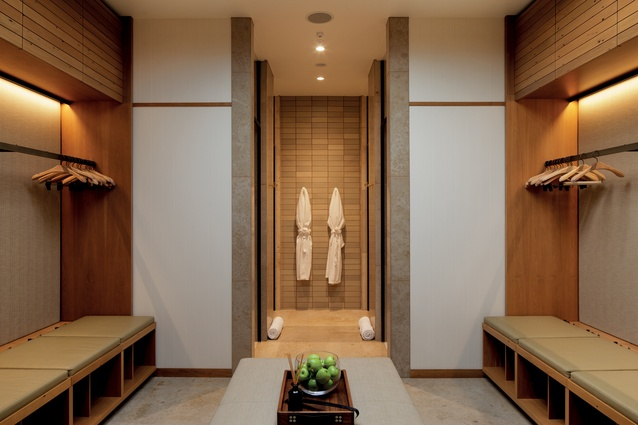 The changing rooms offer a sense of crisp haven with soft materials, neutral tones and highly defined geometries.