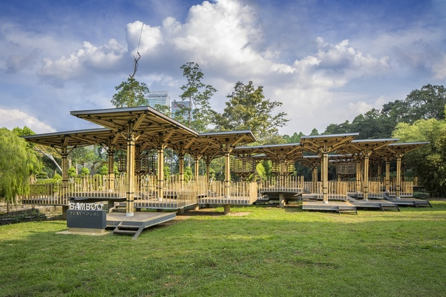 Bamboo Playhouse, Kuala Lumpur by Eleena Jamil Architect. A public pavilion inspired by local structures called 'wakaf': freestanding shelters, open to anyone to rest in.