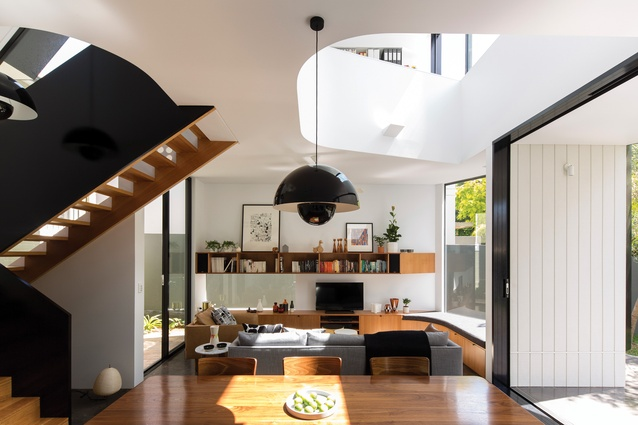 A sculptural extension to an existing Federation house is unapologetically bold and functional. Artwork (L-R): print by James Gulliver Hancock; Susan Stafford.