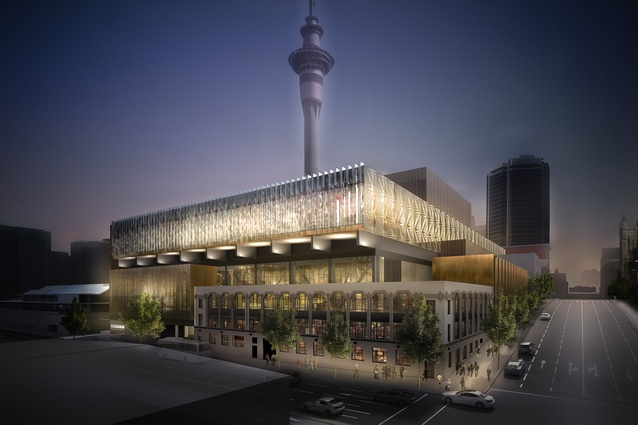NZ International Convention Centre, seen from the corner of Wellesley Street and Nelson Street. Currently in progress.