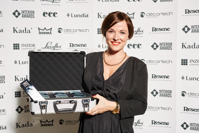 Winner of the 2016 Emerging Design Professional award: Samantha Scrymgeour from ctrl Space with her $1,500 cash prize and bespoke trophy.