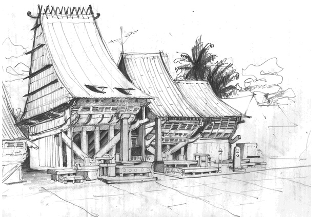 Chief's house in Bawamatoluo on Nias Island, near Sumatra. Drawn by Julie Stout.