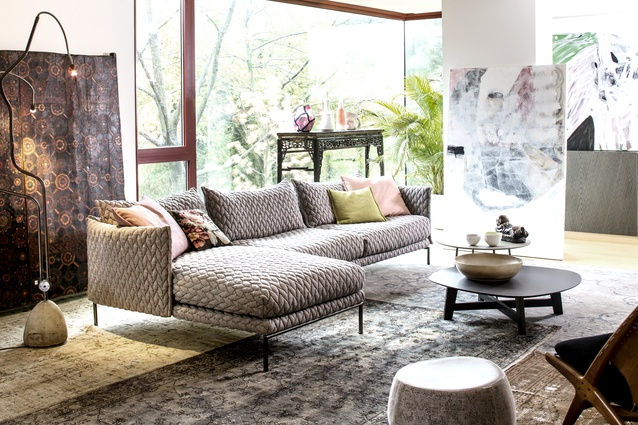 "Moroso describes the family living room as ""an Italian-Senegalese landscape"", in which furniture blends easily with original art and traditional motifs."