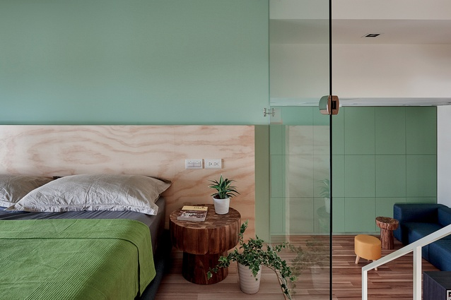 Olive, mint and green accents combined with timbers and natural light make this interior space vibrant, and youthful.