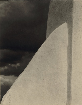 <em>Church, Ranchos de Taos, New Mexico</em>, 1931. Platinum print by Paul Strand.