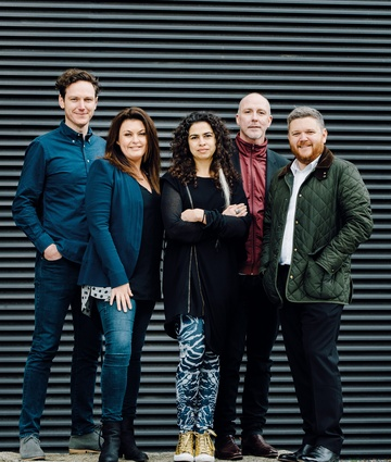 The 2015 Eat Drink Design Awards jury. From left to right: designer Stuart Krelle, chef and restaurateur Karen Martini, designer Pascale Gomes-McNabb, AFR design editor Stephen Todd and Cameron Bruhn.