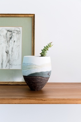 Sue Scobie ceramic: Smidt's brother is a serious fan of serious ceramics, and this one-off piece was a Christmas gift last year. It might not be the largest piece in the house but it has a lot to say to Rebecca.