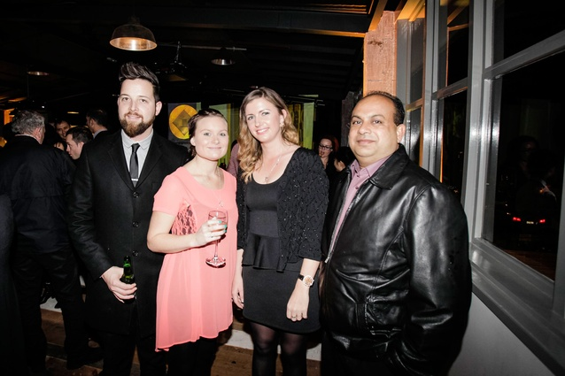 From left: AGM's Joel Bremner and Samantha Slatter with a guest, and Bala Prasad.