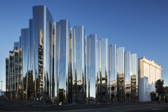The Len Lye Centre in New Plymouth is a sculptural form of undulating stainless steel that reflects everything in its approach.
