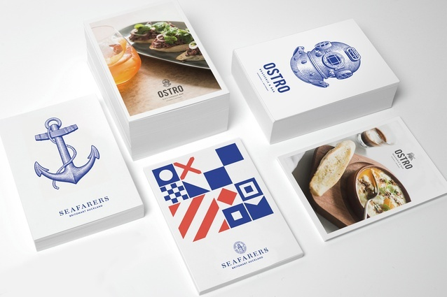 Seafarers / Ostro, Auckland has been shortlisted in the Best Identity Design category.
