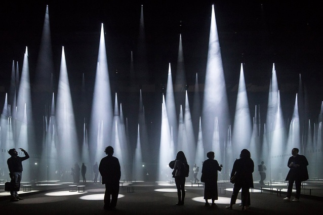 Buildings in Use category: Photographer: Laurian Ghinitoiu. Buiding: 'Forest of Light' for COS, Salone del Mobile, Milan, Italy. Architect: Sou Fujimoto Architects.