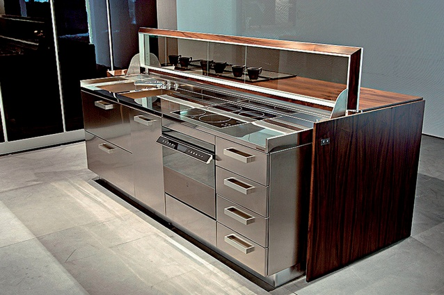 The Cover kitchen island, manufactured by the Italian company Ernestomeda.
