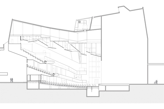 Sectional view of theatre.