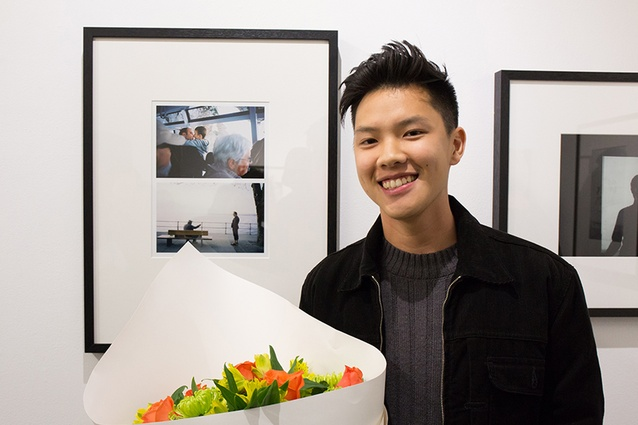 LiWen Choy in front of his winning work <em>Dissonance</em>.