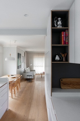The kitchen is well connected to the other living spaces to foster everyday interactions.