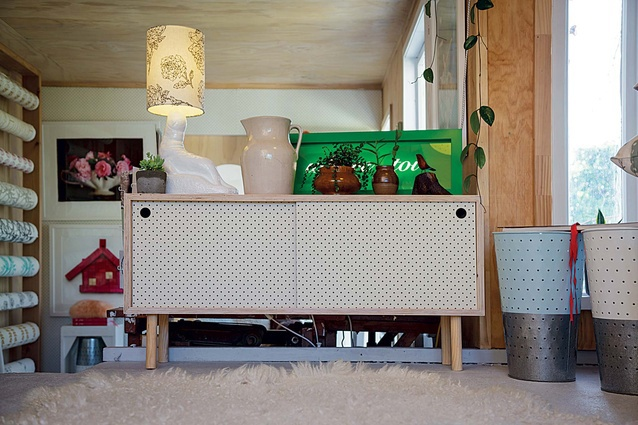 A pegboard sideboard on display in Home Base Collection's Napier shop.