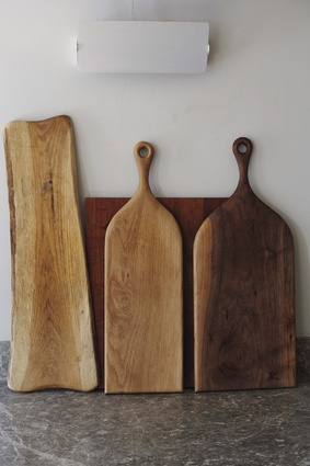 """""""When I make my wooden furniture there are always off-cuts, which get turned into these Henry Moore-like cutting boards."""""""