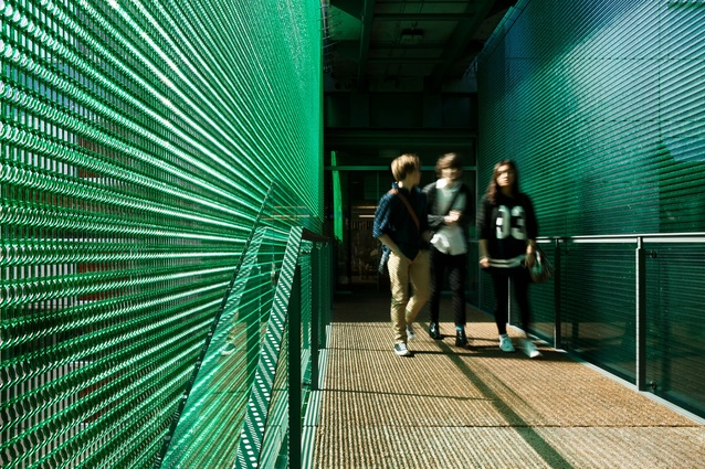Kate Edger Building walkway. The coloured polycarbonate mesh by Kaynemaile creates a dappled light that moves and shimmers in the breeze.