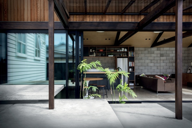 Step straight out of the subtropical garden into the pavilion space.