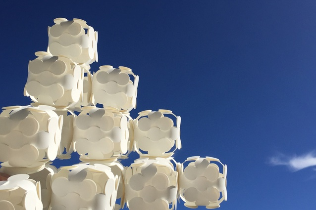 'Republic' lighting cube in white recyclable plastic.