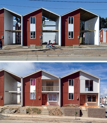 Post-tsunami reconstruction: Villa Verde housing in Constitución, Chile, built as half houses. After eight months, many of the houses were being customised by the tenants.