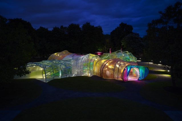 "2015 Serpentine Gallery, London by SelgasCano. A minimal steel frame wrapped in multi-coloured ETFE sheets and webbing, the design focuses on the creation of ""secret corridors""."