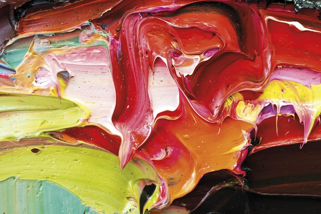 Details showing the abstract patterns, colour and sheer thickness of the paint.
