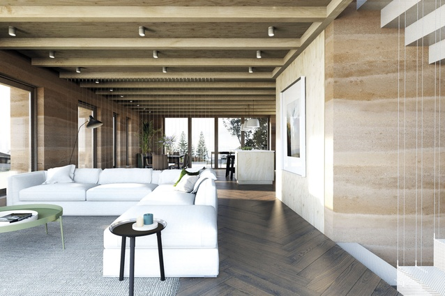 A render of the interior showing the rammed earth walls.