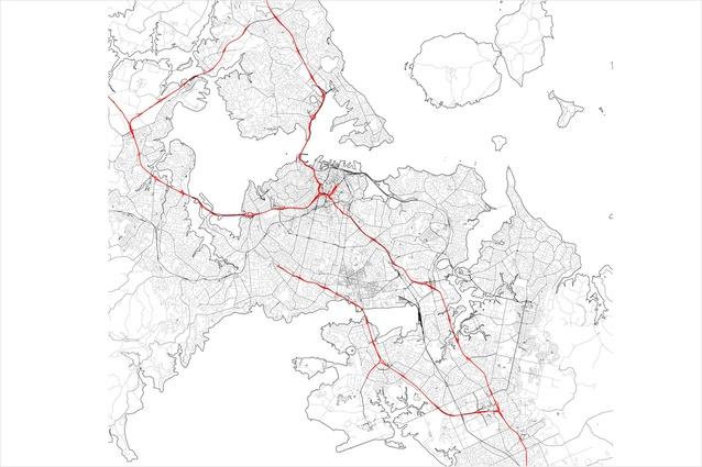 The Auckland motorway network (in red) creating a concrete cradle around the CBD.