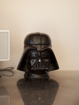 Darth Vader cookie jar: Helene: You have to have Star Wars. Steve: We tried to keep the kids into Star Wars for as long as possible.