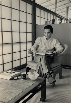 Kenzo Tange, pictured relaxing in his own home, the A House.