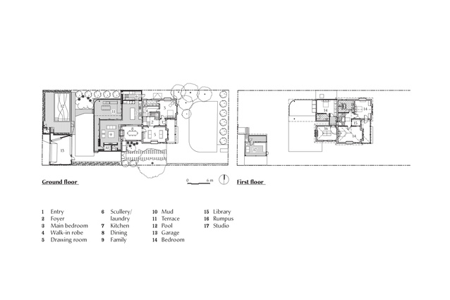 Plans of Hiro-En House by Matt Gibson Architecture and Design.