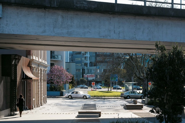 View through the plaza towards College Hill.