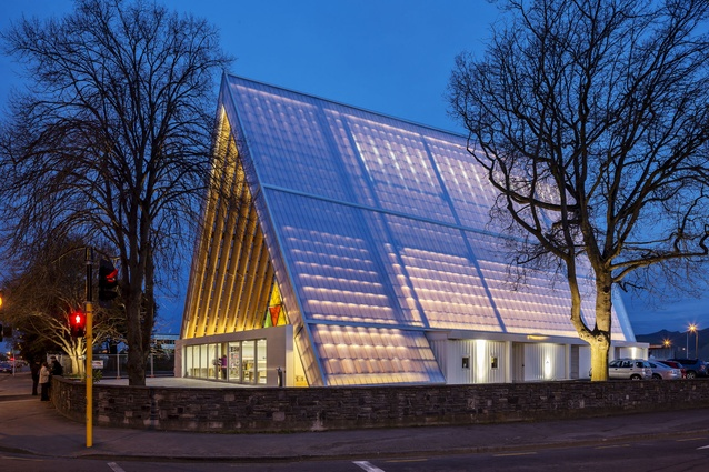 The Cardboard Cathedral in Christchurch, designed by Shigeru Ban Architects, 2013.