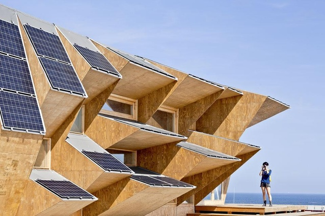"Endesa Pavilion, Barcelona. The structure uses ""solar bricks,"" which insulates the interior from solar radiation and collects information about the building's energy usage."