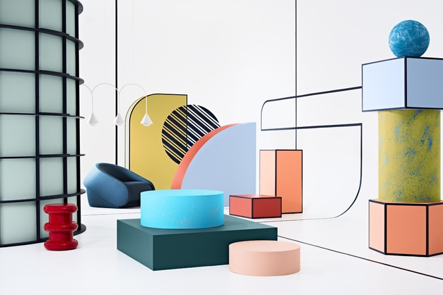 From shapely furniture and melting objects inspired by Salvador Dali to block colour and line work to create illusions, Chroma evolves beyond mid-century postmodern style into a vivid chromatic haven.